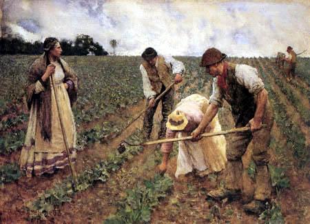 Sir George Clausen - Hoeing Turnips
