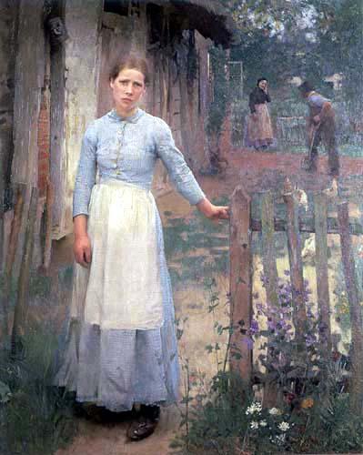 Sir George Clausen - La chica en la puerta
