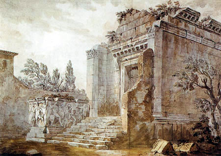 Charles-Louis Clérisseau - The Temple of Bacchus