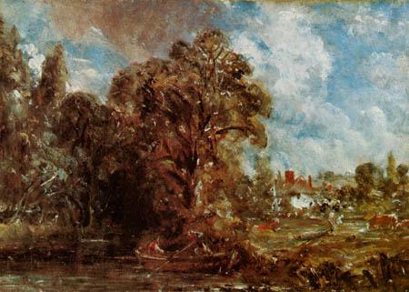 John Constable - River scene with farmer house