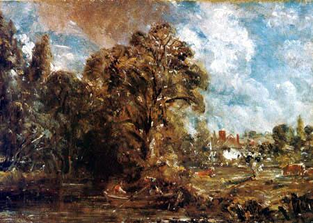 John Constable - Bauernhaus am Fluss