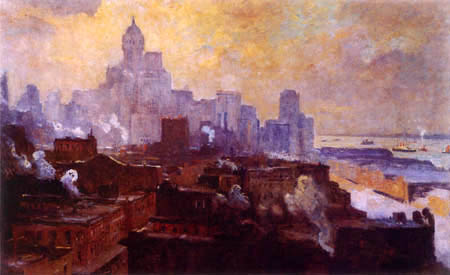 Colin Campell Cooper - Manhattan at sunset, New York