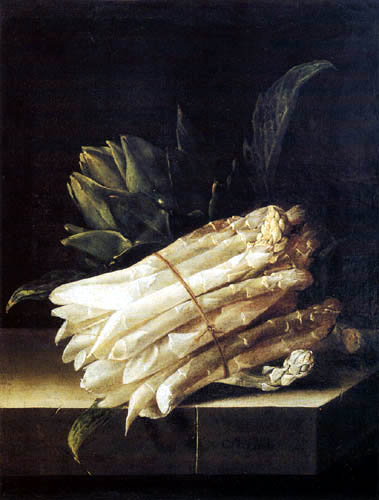 Adriaen Coorte - Still life with asparagus and an artichoke