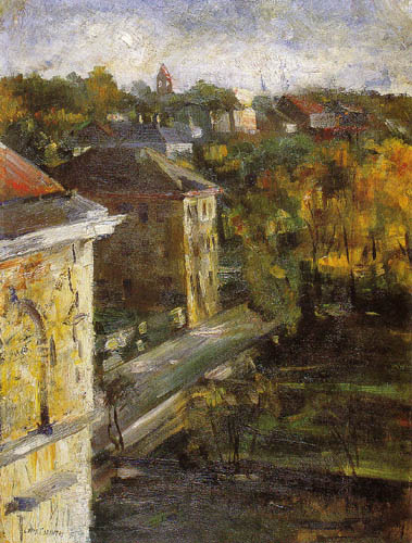 Lovis Corinth - Look out of the studio window