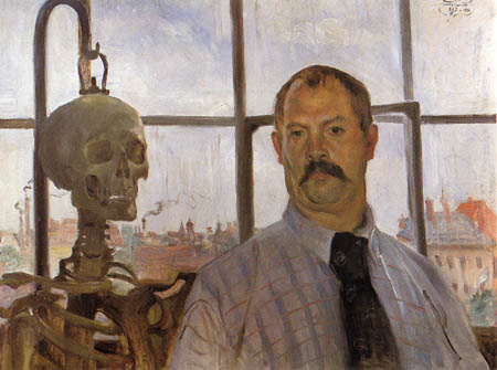 Lovis Corinth - Selfportrait with Skeleton