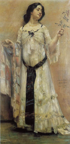 Lovis Corinth - Charlotte Berend with a white dress