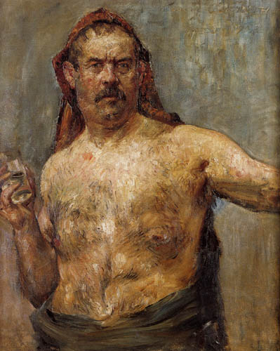 Lovis Corinth - Selfportrait with glass