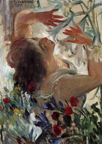 Lovis Corinth - Woman with lilies