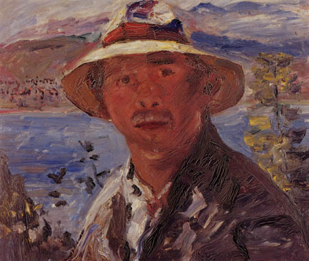 Lovis Corinth - Selfportrait with straw hat