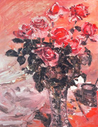 Lovis Corinth - Vase with roses