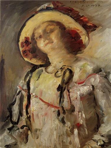 Lovis Corinth - Wilhelmine mit gelbem Hut