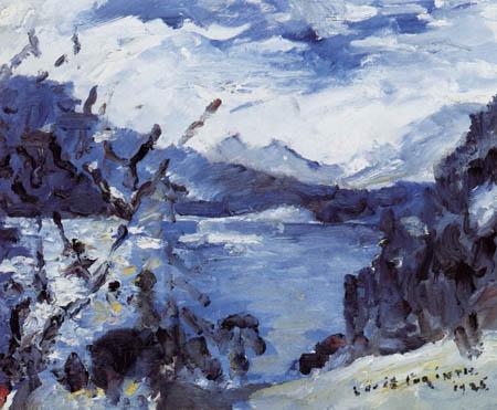 Lovis Corinth - Walchensee mit Bergkette