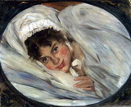 Lovis Corinth - A girl's head in the pillow
