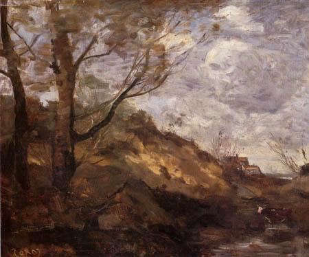 Jean-Baptiste Corot - Häuser in den Dünen