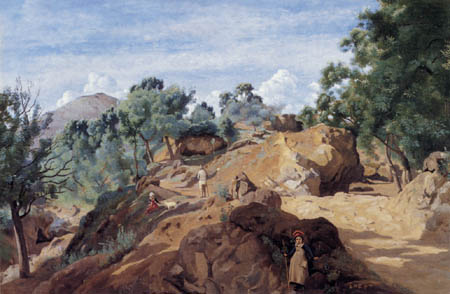 Jean-Baptiste Corot - Felsige Waldlandschaft