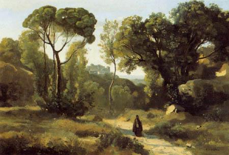 Jean-Baptiste Corot - Ein Mönch auf der Landstraße