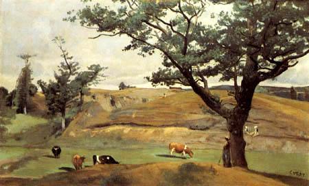 Jean-Baptiste Corot - Hügel und Weiden bei Saint-Lo
