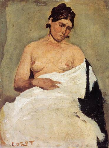 Jean-Baptiste Corot - Sitzende Frau mit blosser Brust
