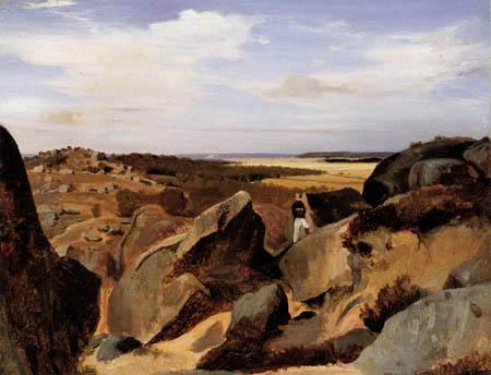 Jean-Baptiste Corot - Rocky landscape, Fontainebleau