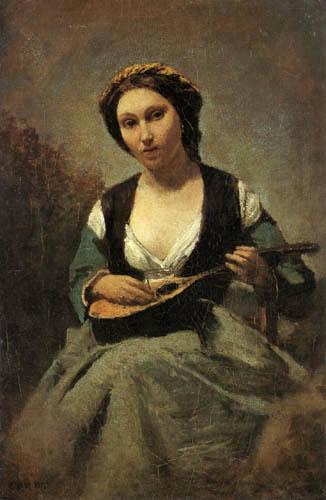Jean-Baptiste Corot - Junge Frau mit einer Mandoline