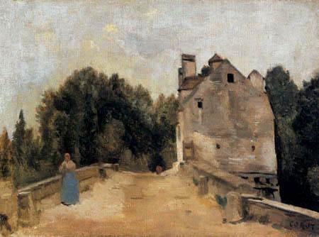 Jean-Baptiste Corot - Brücke und Mühle in Mantes