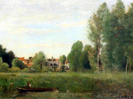 Jean-Baptiste Corot - Environs de Mantes, Petites habitations cachées