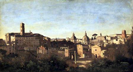 Jean-Baptiste Corot - The Forum of the Farnese Gardens, Rome