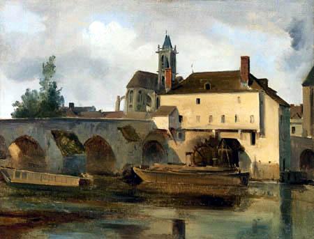 Jean-Baptiste Corot - Moret sur Loing, Die Brücke und die Kirche