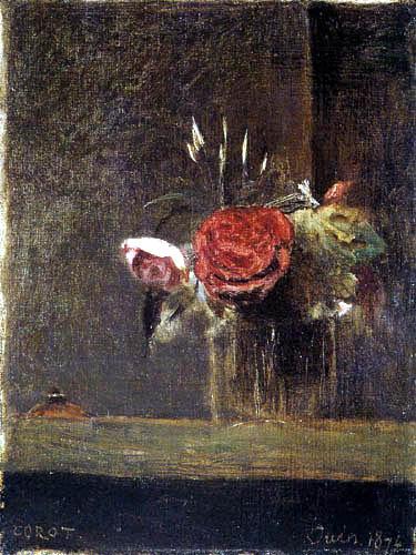 Jean-Baptiste Corot - Rosas en un cristal