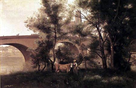 Jean-Baptiste Corot - Mantes, la Seine près du pont