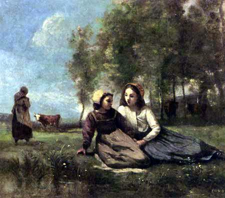 Jean-Baptiste Corot - Zwei junge Hirtenmädchen auf der Wiese