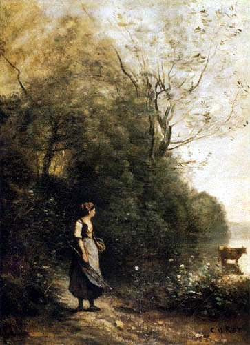 Jean-Baptiste Corot - Peasant Woman with a Cow at the Edge of a Forest