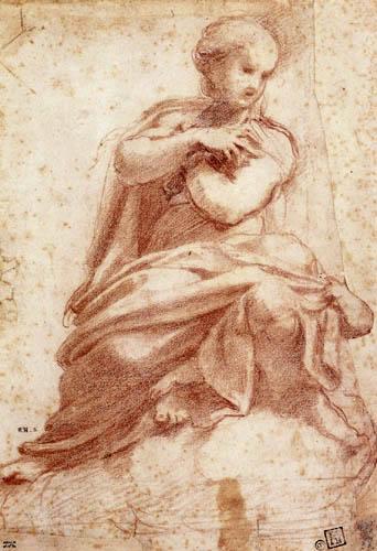 Antonio da Correggio - Mary enthroned on clouds
