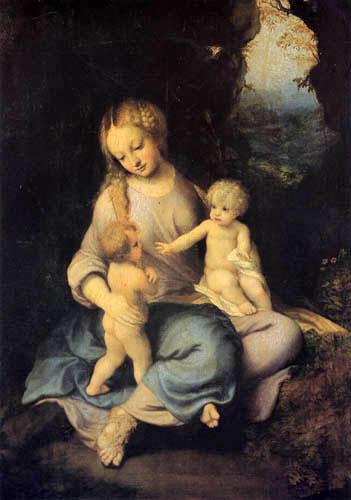 Antonio Allegri Correggio - Die Jungfrau mit dem Kinde und dem Johannesknaben