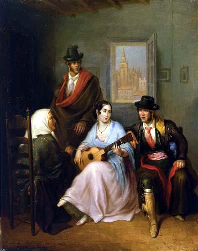 Ángel María Cortellini y Hernández - Der Gesang des Mädchens, Wirtshausszene