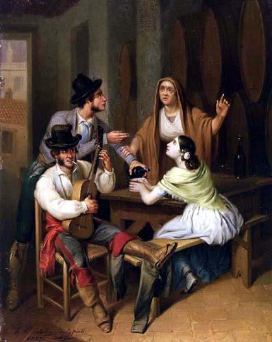 Ángel María Cortellini y Hernández - No more wine. Tavern scene