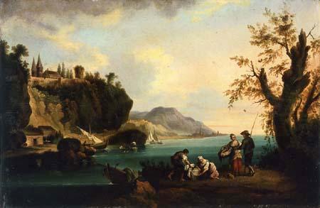Andrés Cortés y Aguilar - Washerwomen and fishermen in a coastal landscape