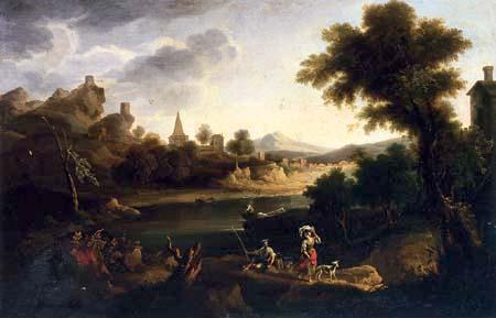 Andrés Cortés y Aguilar - River Landscape with Washerwoman and Fisherman