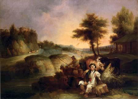 Andrés Cortés y Aguilar - Shepherds tending his flock
