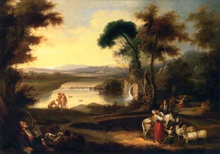 Andrés Cortés y Aguilar - Pastors on a watermill