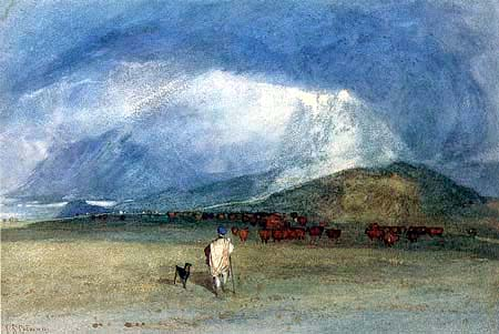 John Sell Cotman - In the Grampians, Minding Cattle