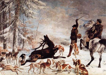 Gustave Courbet - Deer hunt, Halali du Cerf