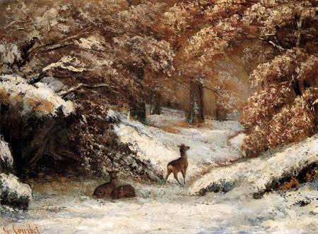 Gustave Courbet - Deer in the winter forest