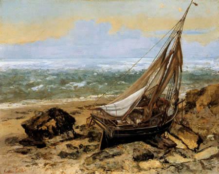 Gustave Courbet - Verlassene Fischerbarke am Felsstrand