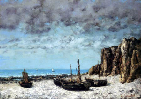 Gustave Courbet - Boats on the shore, Etretat
