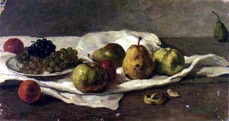 Gustave Courbet - Apples, pears and grapes on a table