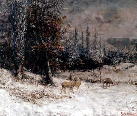 Gustave Courbet - Chevreuils dans la neige