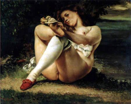 Gustave Courbet - La femme avec des bas blanche