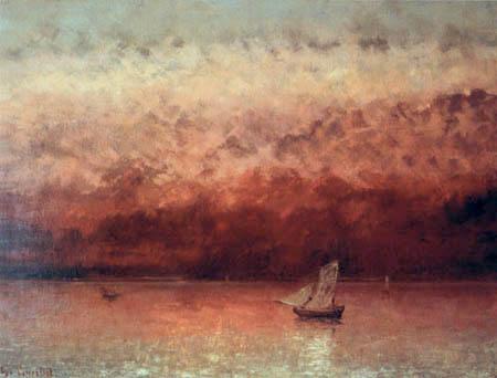 Gustave Courbet - Lake Geneva in sunset
