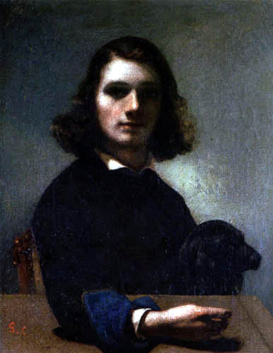 Gustave Courbet - Selfportrait with a black dog